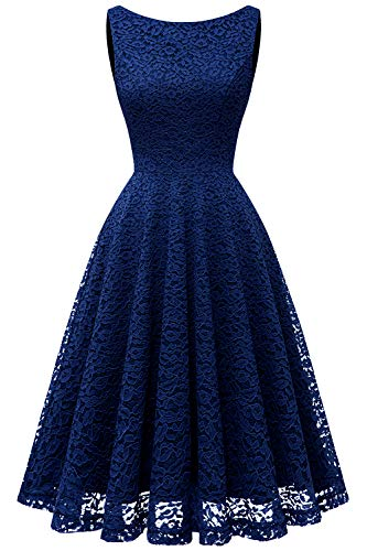 Cocktail Bridesmaids Dresses - Bbonlinedress Women's Short Floral Lace Bridesmaid Dress V-Back Sleeveless Formal Cocktail Party Dress Navy M
