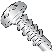 "410 Stainless Steel Self-Drilling Screw, Plain Finish, Pan Head, Phillips Drive, #2 Drill Point, #6-20 Thread Size, 1"" Length (Pack of 50)"