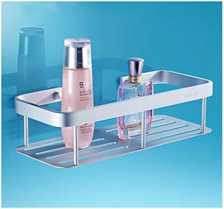 スペースアルミ、バスルームの棚、単層、洗面化粧台、壁掛け、ミラーフロント、バスルーム収納バスケット、中空排水 (Color : Silver)