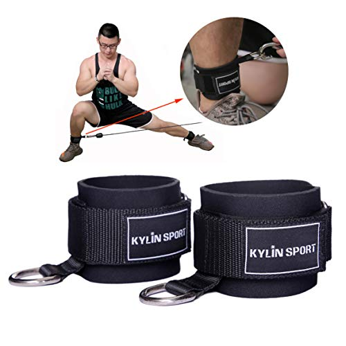Crossover Kickback (KYLIN SPORT Fitness Padded Ankle Strap for Resistance Bands Cable Machines with Carry Bag Premium Fitness Kickback Ankle Straps Attachment for Weightlifting Workout with Ankle Cuffs (1 Pair))
