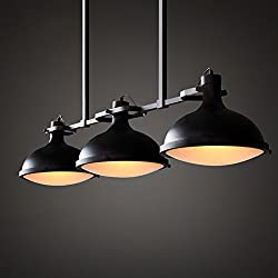 NYDZ European Style Chandelier,Loft Pool Table Restaurant Bar Dock Ceiling Light,3 Head Iron Black Length 86cm