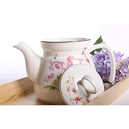 Exquisite Tea Cups Saucers Set Set Coffee Cup Ceramics Teapot Heat-Resistant High Capacity Single Pot Cold Water Household Large Cold Water Bottle Hot Water Bottle Tea Pot 1125ML by Kinue (Image #2)