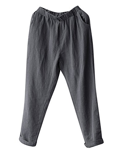 BBYES Womens Casual Loose Plus Size Elastic Waist Cotton Linen Trouser Cropped Straight Leg Pants Gray (Cotton Elastic Leg)