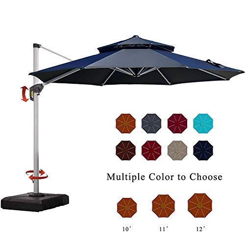 PURPLE LEAF 11 Feet Double Top Deluxe Patio Umbrella Offset Hanging Umbrella Outdoor Market Umbrella Garden Umbrella, Black (Patio Walmart Offset Umbrellas)