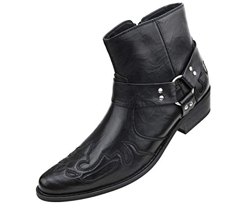 (Amali Men's Embellished Wing Tip Designer High Rise Boot with Inside Zipper, Style Rancho Black)