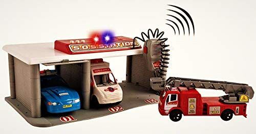 (WolVol Emergency 3-Vehicle Garage w/ Pretend Radio & Sounds - Portable Utility Vehicle Station - Ideal Gift for Boys & Girls)