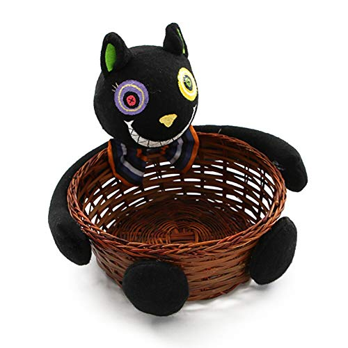 Storage Baskets - Home Decor Candy Basket Doll Fruit Black Cat Ghost Biscuit Pumpkin Hand Woven Halloween Decoration - White Nested Leather Rack Round Purple Square Storage Collapsible Grey ()