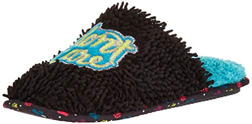 Dearfoams Women's Novelty Scuff with Bone Toy Slipper, Black, L M US