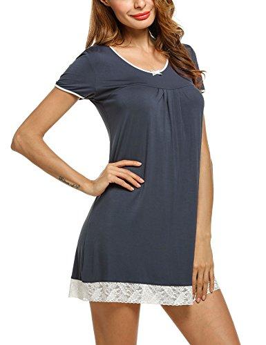 (HOTOUCH Womens Nightgown Short-Sleeve V-Neck Nightie Sleep Shirt Gray XL)