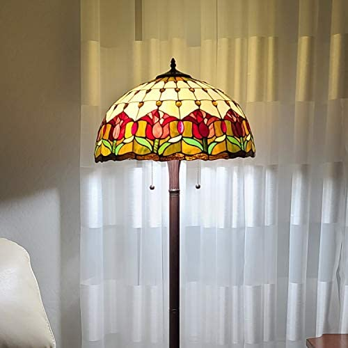 Tiffany Style Standing Floor Lamp 62″ Tall Stained Glass Brown Red Green Flower Tulip Antique Vintage Light Decor Bedroom Living Room Reading Gift AM002FL18B Amora Lighting