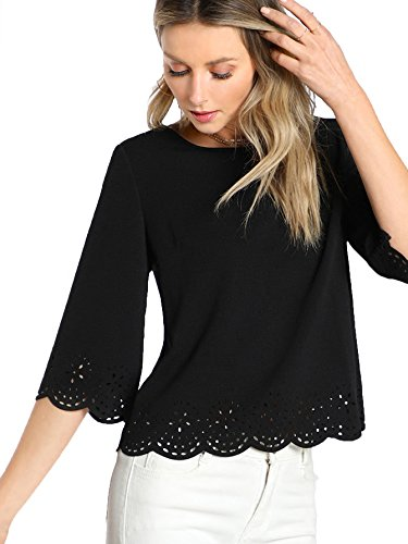 (Floerns Women's Plain Scallop Half Sleeve Blouse Top Black S)