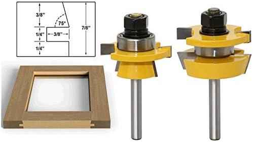 1/4 Zoll Schaft Holz Fräser Holzbearbeitung Werkzeug, Nut und Feder-Satz, HandsEase Router Bit Set 3 Zähne T Form Holz Tür Boden, 2Stk