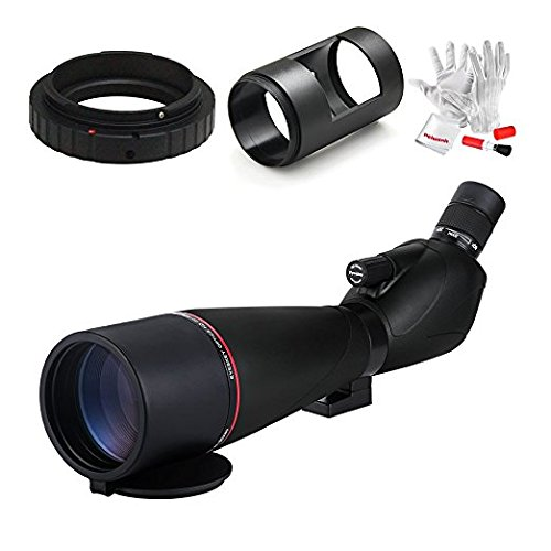 Eyeskey EK8388 20-60x80mm Prism Spotting Scope with Digiscoping Adapter and Ring for Canon DSLR Cameras -for Outdoor Activities 45 Degree Comfortable Angled Eyepiece w/Tripod and Pergear Cleaning Kit by Eyeskey