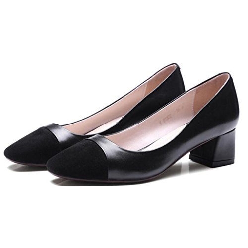 pelle Donne scarpe 40 Nero grandi pompe GAOLIXIA scarpe lavoro alti 34 corte singole in retrò scarpe tacchi Moda dimensioni lavoro da ESHwqd6