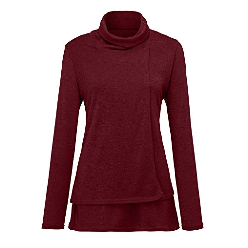 - Keliay Bargain Fashion Women's Long Sleeve Solid Layered Cowl Neck Tops Blouse Loose T-Shirt