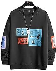 Heren Hip Hop Sweatshirt Crewneck Sweatshirt Mannen Patchwork Hip Hop Stijl Japanse Streetwear Harajuku Sweatshirts Hoodies (Color : Dark Gray, Size : M)