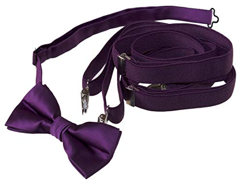 Bow Tie and Suspender Set Combo in Plum Berry Men's & Kids Sizes (48