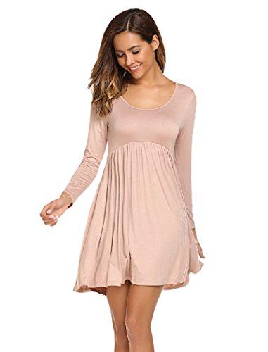 Line Scoop Neck - Halife Women's Scoop Neck Long Sleeve Solid Casual A-Line Midi Party Dress Khaki L