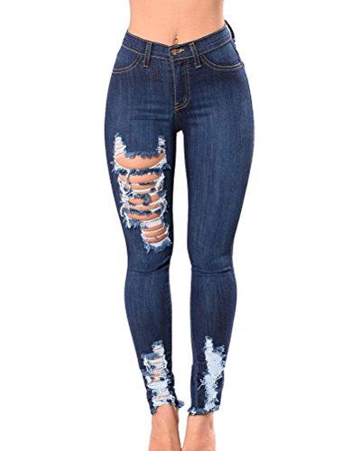 Mujer Clásico Cintura Alta Skinny Slim Fit Distressed Elásticos Denim Pantalones Vaquero Azul Oscuro