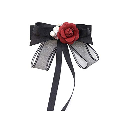 ICEYUN women black bow tie red rose pearl pendant necktie brooch dual use accessories (Long) ()