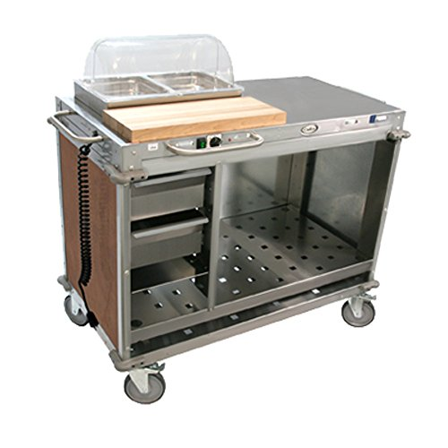 Cadco CBC-PHRX-L1 Medium Mobile Demo/Sampling Cart Full Size Buffet Server with (2) Drawers, (3) Storage Shelves & (2) 2-1/2