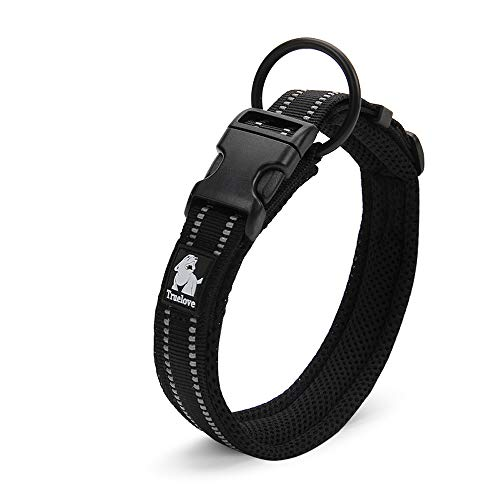 Chais Choice Best Padded Comfort Cushion Dog Collar for Small, Medium, and Large Dogs and Pets. Perfect Match Front Range Harness Leash. (Medium, Black)
