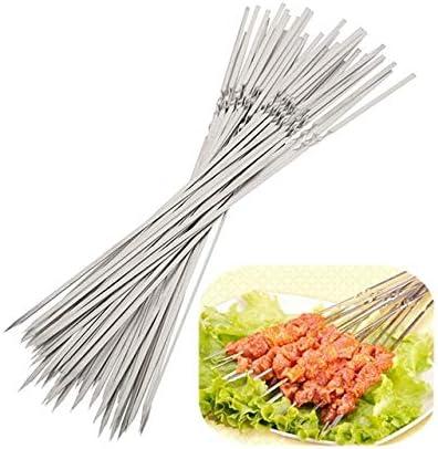 5-100x Skewer Stainless Steel Flat Metal Barbecue Needle Kebab Stick Picnic Tool