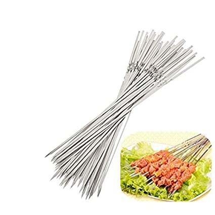 New 10 x METAL BBQ BARBECUE SKEWERS STICKS WOODEN HANDLES COOKING GRILL FRYING