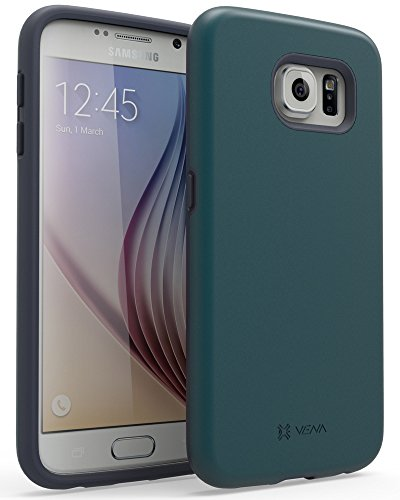 (Galaxy S6 Case, VENA [Legacy LITE] Slim Fit Dual Layer Hybrid Case for Samsung Galaxy S6 (Metallic Forest Green/Deep Sea Blue))