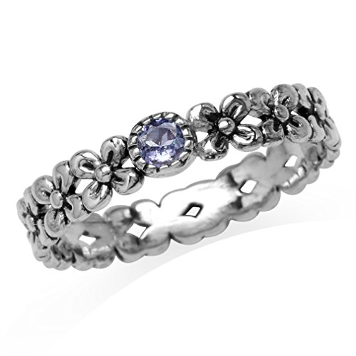 Silvershake Petite Genuine Tanzanite 925 Sterling Silver Flower Stack Stackable Eternity Ring Size 5