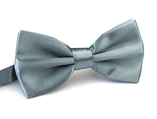 (Men's Pre Tied Bow Ties for Wedding Party Fancy Plain Adjustable Bowties Necktie (Silver Gray) )