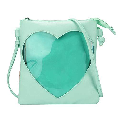 SteamedBun Ita Bag Heart Crossbody Bags for Women Girls Small Clear Phone Wallet Shoulder Purse with zipper (Green)