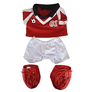 "Red Soccer Outfit Teddy Bear Clothes Fits Most 14"" - 18"" Build-a-bear, Vermont Teddy Bears, and Make Your Own Stuffed Animals"
