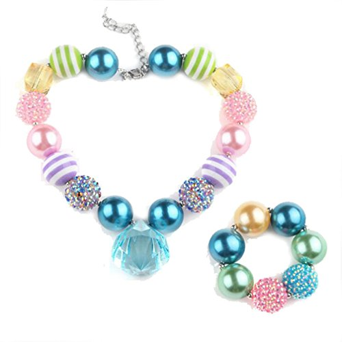 Rainbow stripe chunky beads necklace with bracelet set gift for infant toddler (Jewel Bead Necklace)