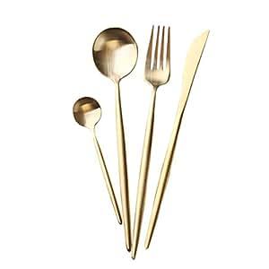 Jinsen Customized Stainless Steel Flatware Set with Fork Spoons Knife Teaspoon for Home Kitchen Restaurant Hotel (Matt Gold)