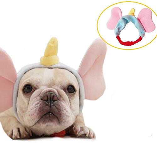 CheeseandU Pet Costume Cute Elephant Headband French Bulldog Elastic Hair Head Band Tie Head Wrap Hat for Small Medium Large Dogs Party Halloween Dressup Photo Prop