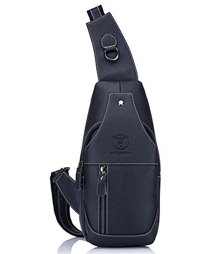 BULLCAPTAIN Genuine Leather Men Bags Shoulder Sling Crossbody Bag Casual Mens Chest Bag Travel Hiking Backpack (Black), 15cm(5.91inch) x 8cm(3.15inch) x 30cm(11.81inch) (Male Hiking Bag)