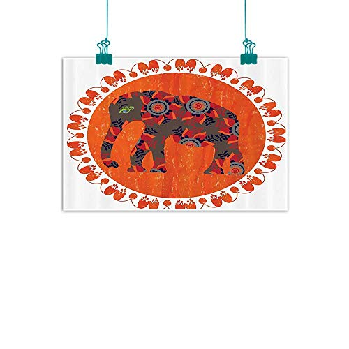 WinfreyDecor Circus Animals Abstract Painting Asian Style Elephant Doodle in The Orange Sun with Vibrant Floral Ornaments Natural Art 20