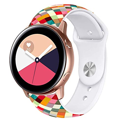 Viwell Silicone Fadeless Pattern Printed Replacement Bands Compatible Galaxy Watch Active 40mm Bands, 20mm Silicone Strap Sports Replacement Bracelet Wristband for Galaxy Watch 42mm Colorful Lattice