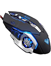 Gaming Mouse, Ergonomic USB Wired Gaming Optical Mice with 6 Programmable Buttons and 4 Colors LED Backlight, 4 DPI Settings Up to 2400 DPI Computer Mouse for Laptop PC Games & Work (Black)