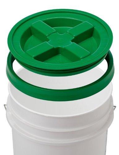 5 Gallon White Bucket & Gamma Seal Lid - Food Grade Plastic Pail & Gamma2 Screw Seal Tight Lid (Green)