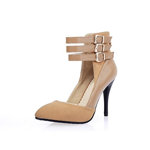 Breasted Frosted Solid apricot Shoes Toe WeiPoot Double with Pumps Closed Women's 5gwqz