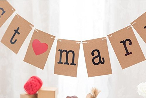 Musuntas guirlande Vintage comme d/écoration pour le mariage avec un lettrage blanc Rustique Kraft Just Married
