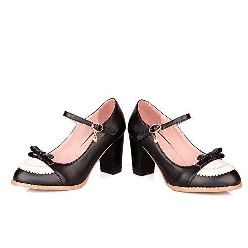 Balahome Pour Femmes Boucle Talon Chaton Assorties Couleurs Pompes Chaussures, Noir (noir), 38