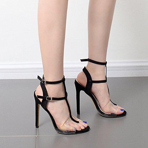 Easemax Femmes Sexy Faux Suède Gladiateur Couture Transparente Cheville Boucle Peep Toe Haute Talon Stiletto Sandales Noir