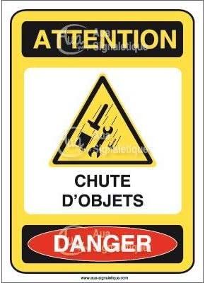 75x105 mm Vinyl adh/ésif Panneau Attention Chute dobjets Danger AI AUA SIGNALETIQUE