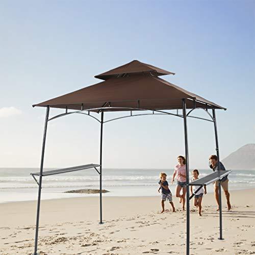 (BestMassage Grill Gazebo Steel Frame Outdoor Backyard BBQ Grill Gazebo with 2-Tier Soft Top Canopy)