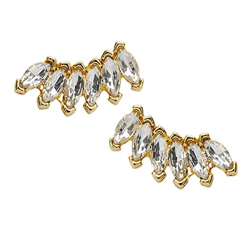 Happy Hours - 1 Pair Elegant Crystal Rhinestone Ear Studs for Women Ladies Girls / New Style Alloy Earrings Jewelry(Gold)