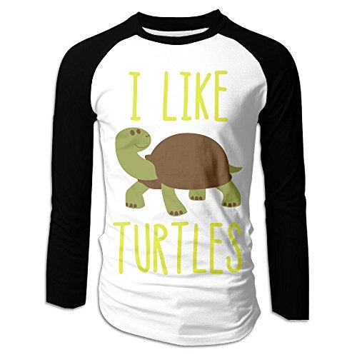I Like Turtles Costume (Men's I Like Turtles Tri-Blend Long Tee Baseball Shirt Raglan Size S Color Black)