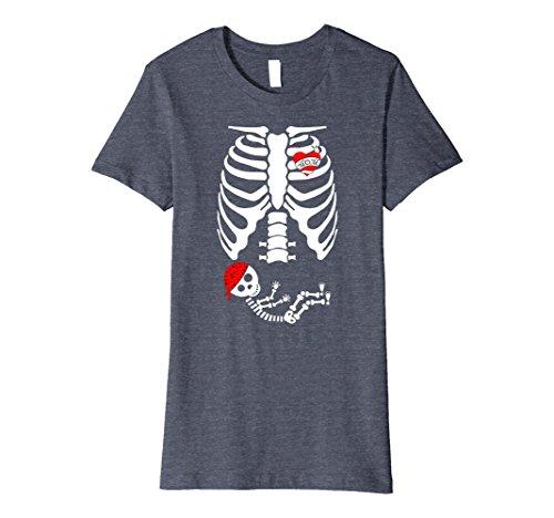 Womens X-Ray Skeleton Pregnant Tshirt - Halloween Mom Costume Gift Large Heather Blue ()